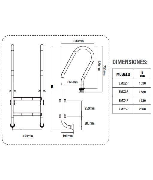 Dimensiones escaleras mixtas